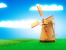 Windmill on field Stock Photography