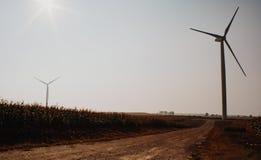 Windmill on field Stock Photos