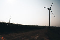 Windmill on field. White windmills on a green field of corn in late summer. / Windmill on field. / Belarus Stock Photo