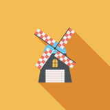 Windmill flat icon with long shadow. Cartoon vector illustration vector illustration