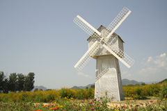 Windmill and Flowers Royalty Free Stock Photography