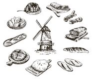 Windmill and fresh bakery products. homemade baking. bakery products. vector sketch on white Stock Photography