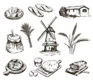 Windmill and fresh bakery products. homemade baking. bakery products. vector sketch on white Stock Image