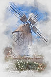 Windmill on Fuerteventura, watercolor. Old white windmill on Fuerteventura, digital watercolor illustration Royalty Free Stock Photos