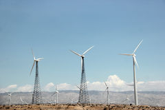 Windmill Generating Electricity for People in Southern Californi Royalty Free Stock Photo