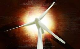 Windmill generator power plant. Digital illustration of a windmill generator power plant in digital background stock photo