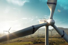 Windmill generator top wiev on the beautiful background. Sunset nature royalty free stock images