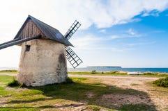 Windmill in Gotland in Eksta coast royalty free stock photo