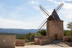 Windmill in Goult, France Stock Photo