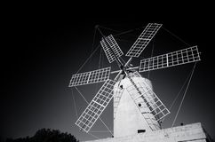 Windmill on Gozo Island black and white foto, Malta stock photo
