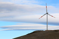 Windmill in Gran Sasso National Park, Italy stock image