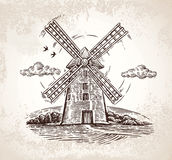 Windmill in graphic style. vector illustration