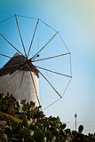 Windmill in Greece, portrait Royalty Free Stock Photography