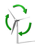 Windmill and green arrows Royalty Free Stock Photography