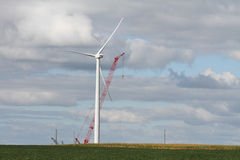 Windmill green energy construction Royalty Free Stock Photo