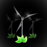 Windmill and green leaves. illustration design Royalty Free Stock Image