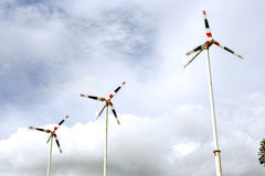 Windmill group for renewable electric energy. Royalty Free Stock Photo