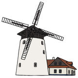 Windmill. Hand drawing of the old windmill Royalty Free Stock Photos