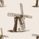 Windmill hand drawn sketch seamless pattern vector Stock Photos