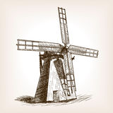 Windmill hand drawn sketch vector Stock Photography