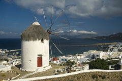 Windmill and harbour Mykonos Royalty Free Stock Image