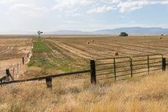 Windmill and hay bales, Northern California Royalty Free Stock Photo