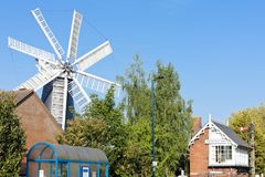 Windmill in Heckington, East Midlands, England. Outdoors, outside, exteriors, europe, western, great, britain, united, kingdom, uk, lincolnshire, town stock image