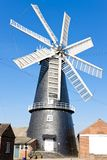 Windmill in Heckington, East Midlands, England. Outdoors, outside, exteriors, europe, western, great, britain, united, kingdom, uk, lincolnshire, town stock photo