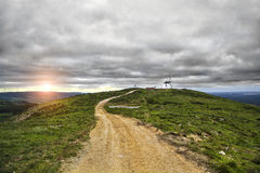 Windmill Hill. Windmills at Sunset, Montejunto Mountain, Portugal Royalty Free Stock Images