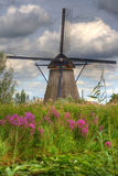Windmill in Holland. Flowers and clouds Stock Photos