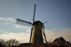 Windmill Holland Beautiful Sky Clouds Mill Animals Farm Dutch Old Blue Purple Grass Tree Hoofddorp stock image