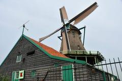 Windmill Holland. Dutch windmill in Holland. Zaanse Schans Stock Photo