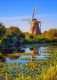 Windmill in Holland, Kinderdijk, Netherlands Stock Photos