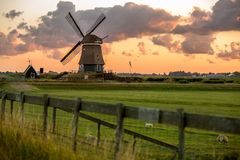 Windmill in Holland. Traditional windmill in Holland, Europe stock image