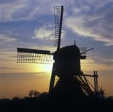 Windmill in Holland at twilight Royalty Free Stock Images