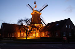 Windmill horizontal. Windmill in sunset, nice lighting, little town in germany, spring 2006 stock images