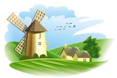 windmill i fält stock illustrationer