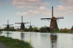 Windmill i Kinderdijk Arkivbild