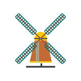 Windmill icon, flat style. Windmill icon in flat style isolated on white background Royalty Free Stock Photo