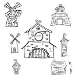 Windmill icon set isolated on white background. Hand drawing vector illustration. Black and white  graphic Holland style Stock Images
