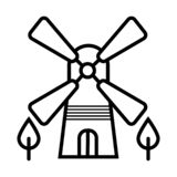 Windmill icon silhouette royalty free illustration