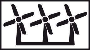 Windmill icon with three fan Stock Photos