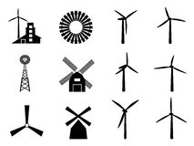 Windmill icons Royalty Free Stock Photography