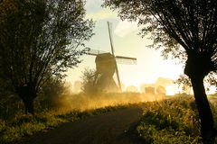 Windmill In Fog Royalty Free Stock Photo