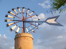 Windmill at island of Majorca in Spain. One of theTypical windmill in the island of Majorca, Spain stock image