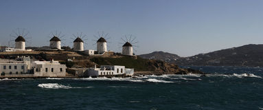 Windmill on the island of Mykonos in Greece. panorama Royalty Free Stock Images