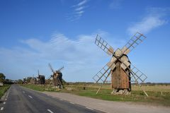 Windmill at the island oland. In sweden in autumn with blue sky royalty free stock images
