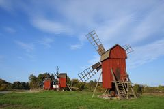 Windmill at the island oland. In sweden in autumn with blue sky stock images