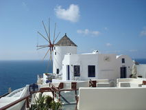 Windmill on island Santorin Stock Photos