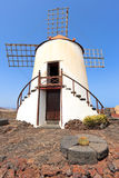 Windmill in Jardin de Cactus, Lanzarote Royalty Free Stock Photography